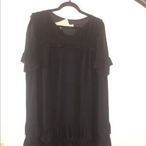 J. Crew Dresses - J crew Ruffle Dress in Crinkle Chiffon 14 Black